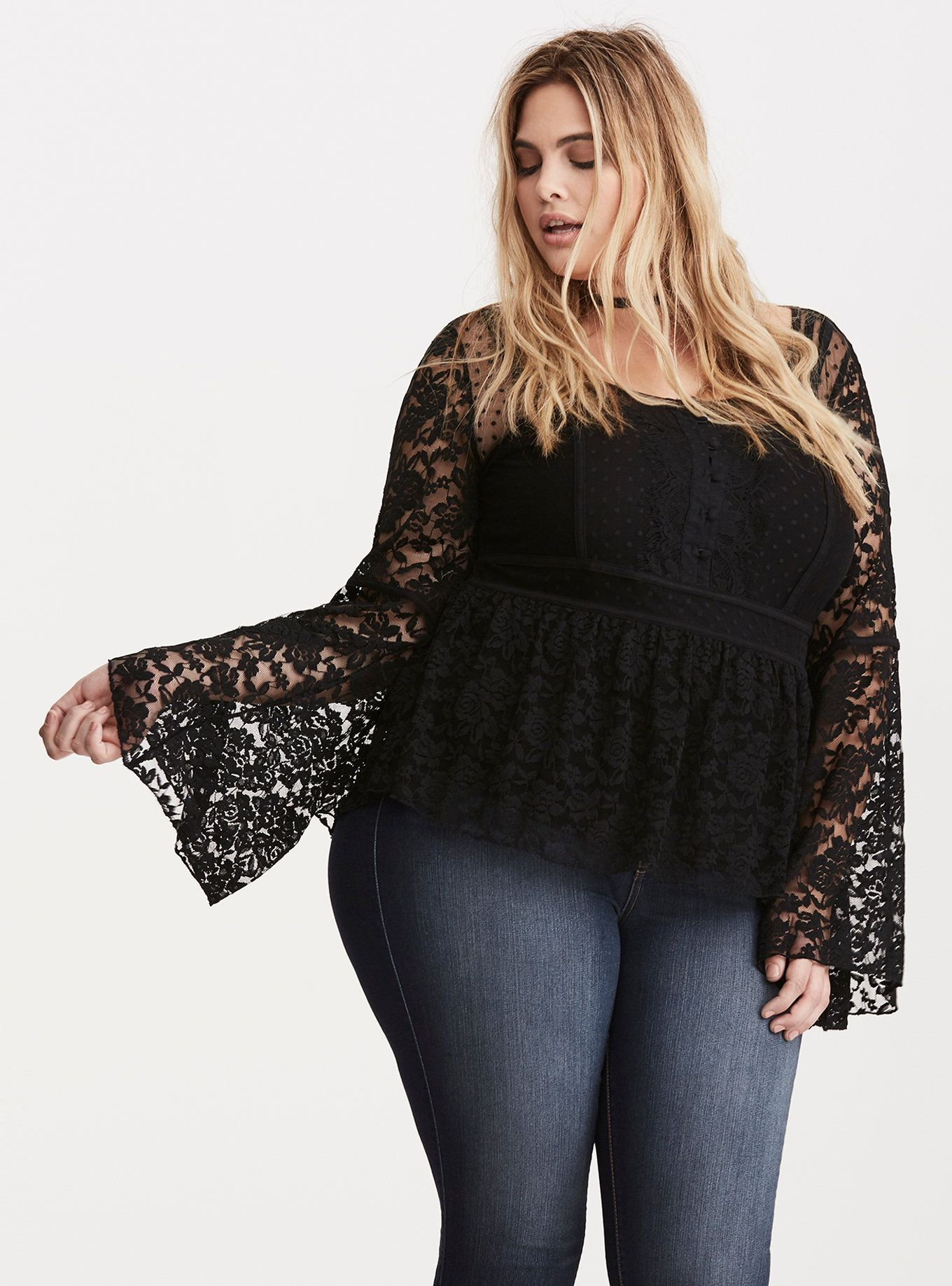 eb9e3a04cffbf5 Dot Mesh Lace Peasant Top | Corporate Goth Glam Pin-Up Look | Tops ...