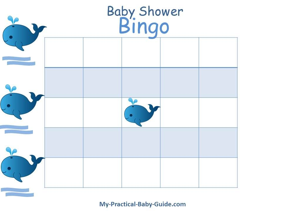 Free Printable #Whale #Baby #Shower Bingo Blank Cards. Click for more printable games and lot's of whale baby shower ideas.