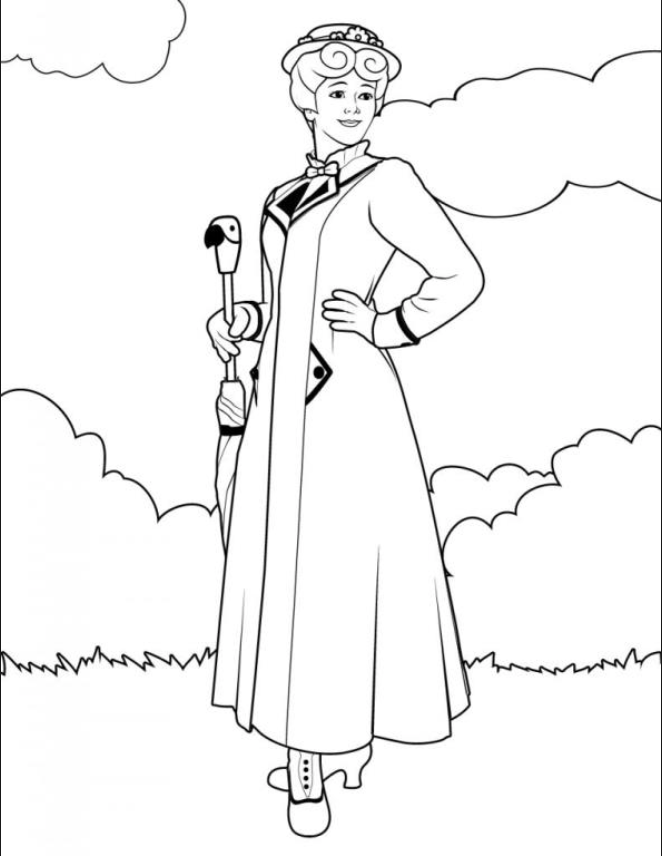 Mary Poppins coloring page | Mary Poppins | Pinterest | Mary Poppins ...