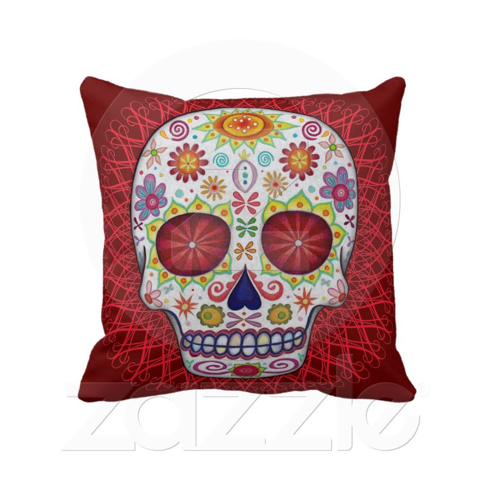 Sugar Skull Day of the Dead Pillow from Zazzle.com