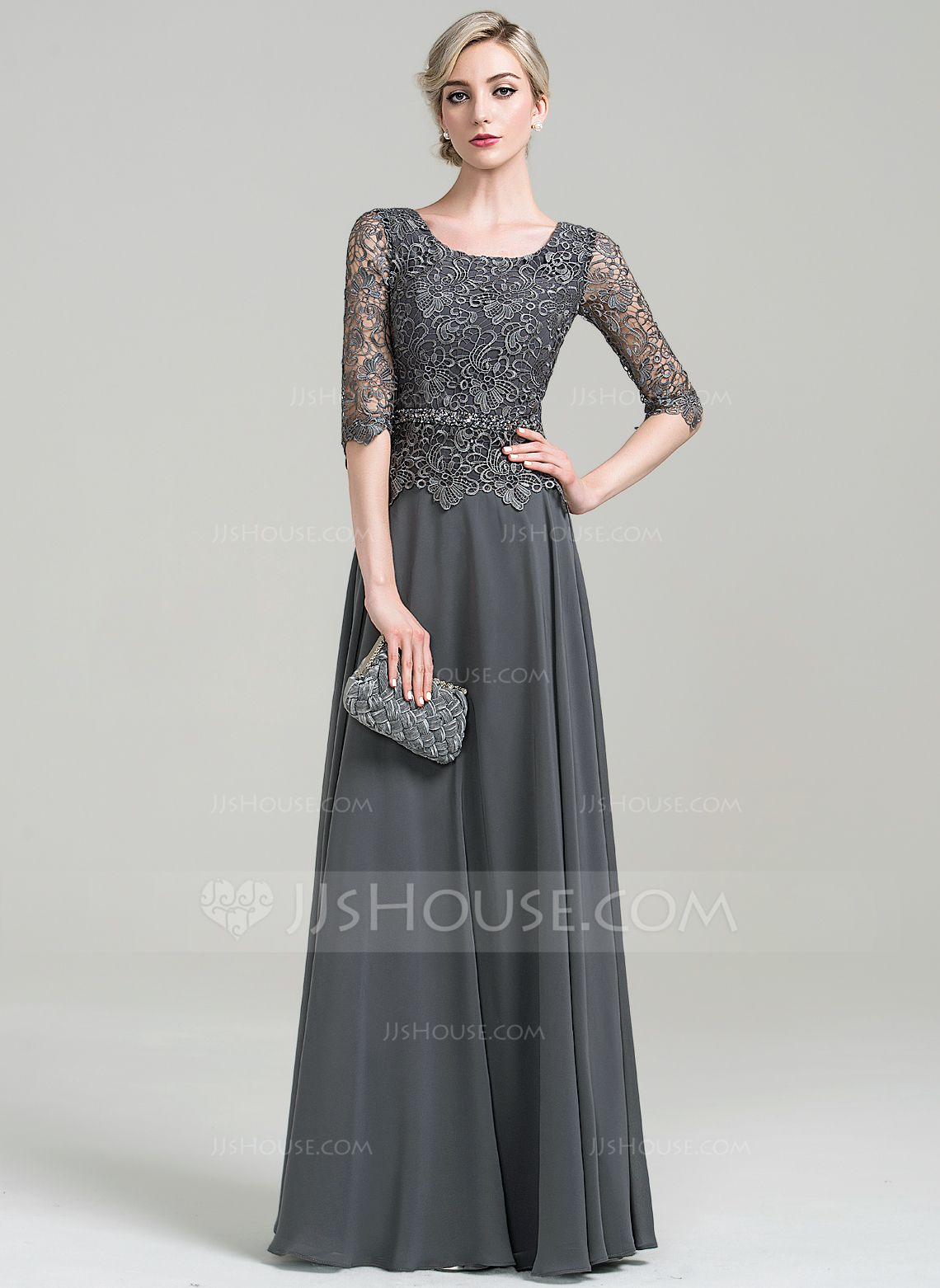 56617afa2f29 A-Line/Princess Scoop Neck Floor-Length Beading Sequins Zipper Up Sleeves 1/2  Sleeves No 2016 Other Colors General Plus Chiffon Mother of the Bride Dress