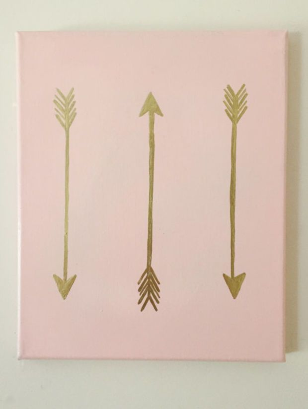 Hand Painted Bohemian Gold Accent 8x10 Canvas Decor Arrows Hipster