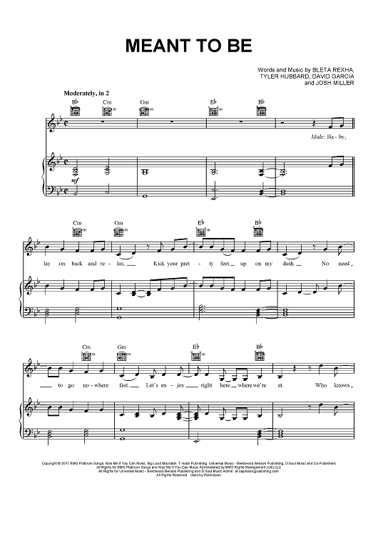 Bebe Rexha Meant To Be Sheet Music Piano Notes Chords Sheet Music
