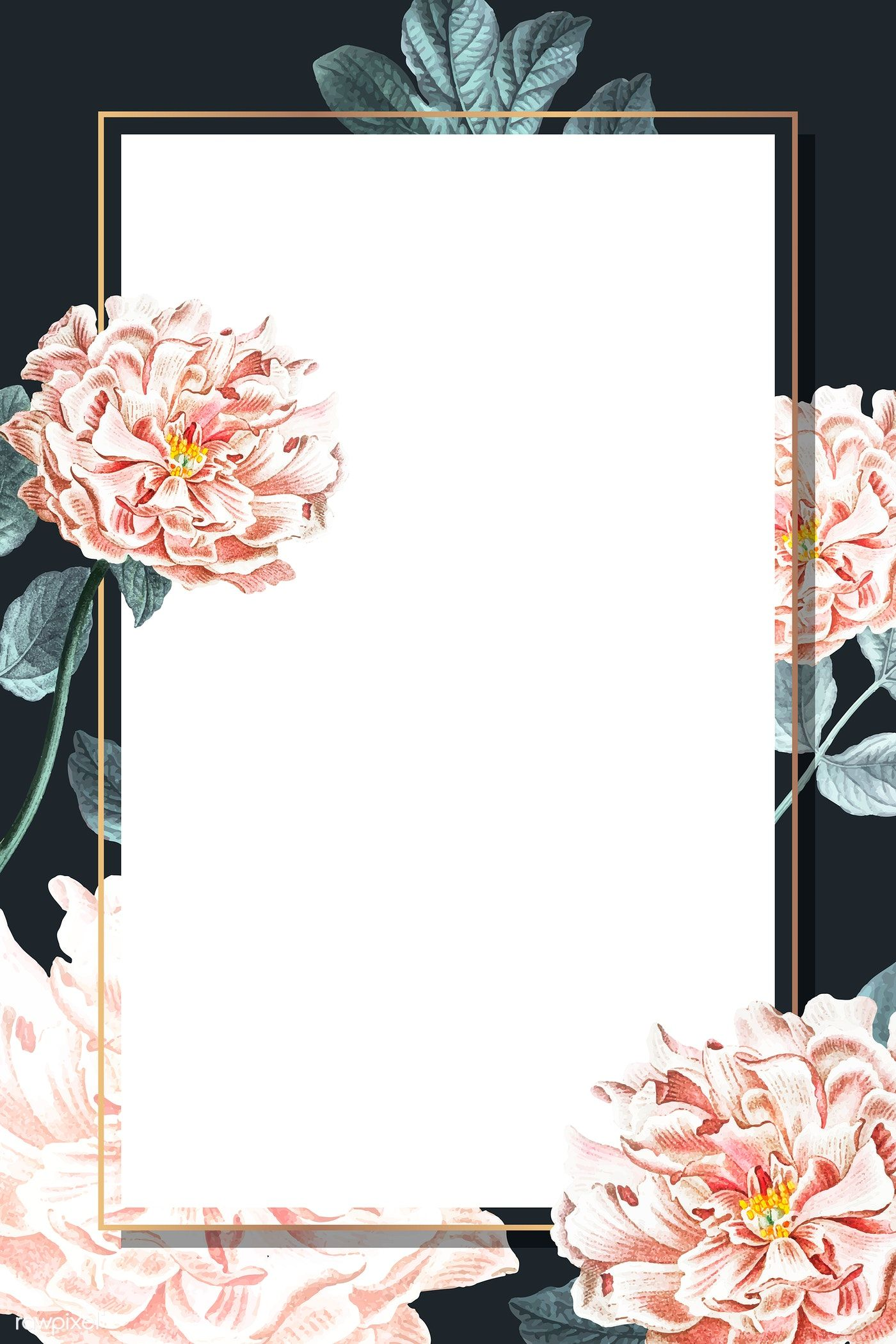 Download premium vector of Golden floral peony frame