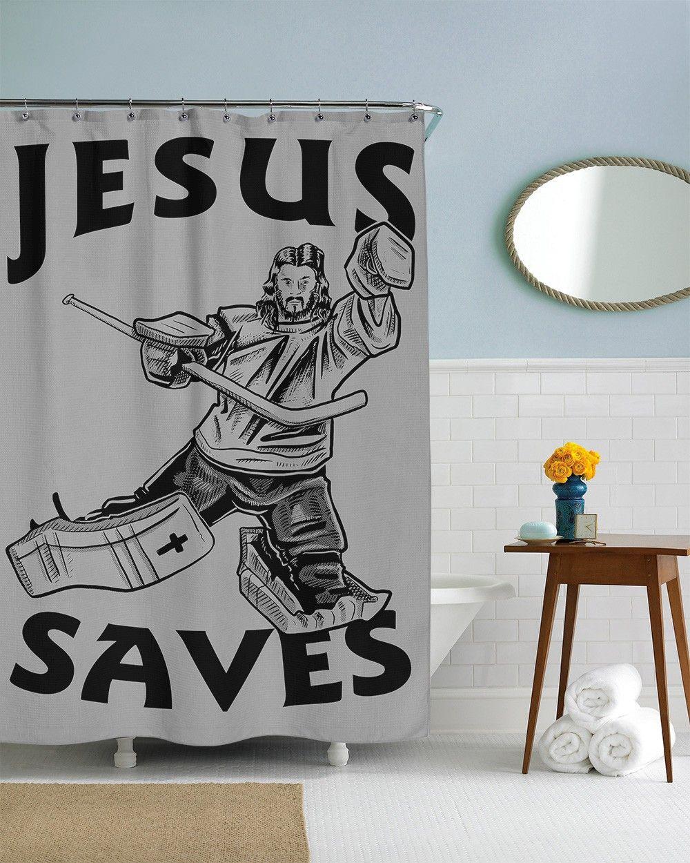 Jesus Saves Hockey Shower Curtain Crazydog T Shirts Jesus
