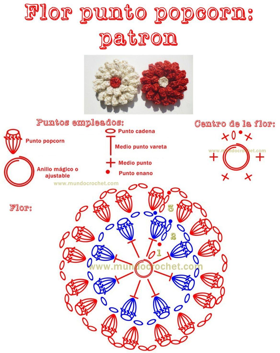 Patron flor en punto popcorn a crochet o ganchillo | Flores ...