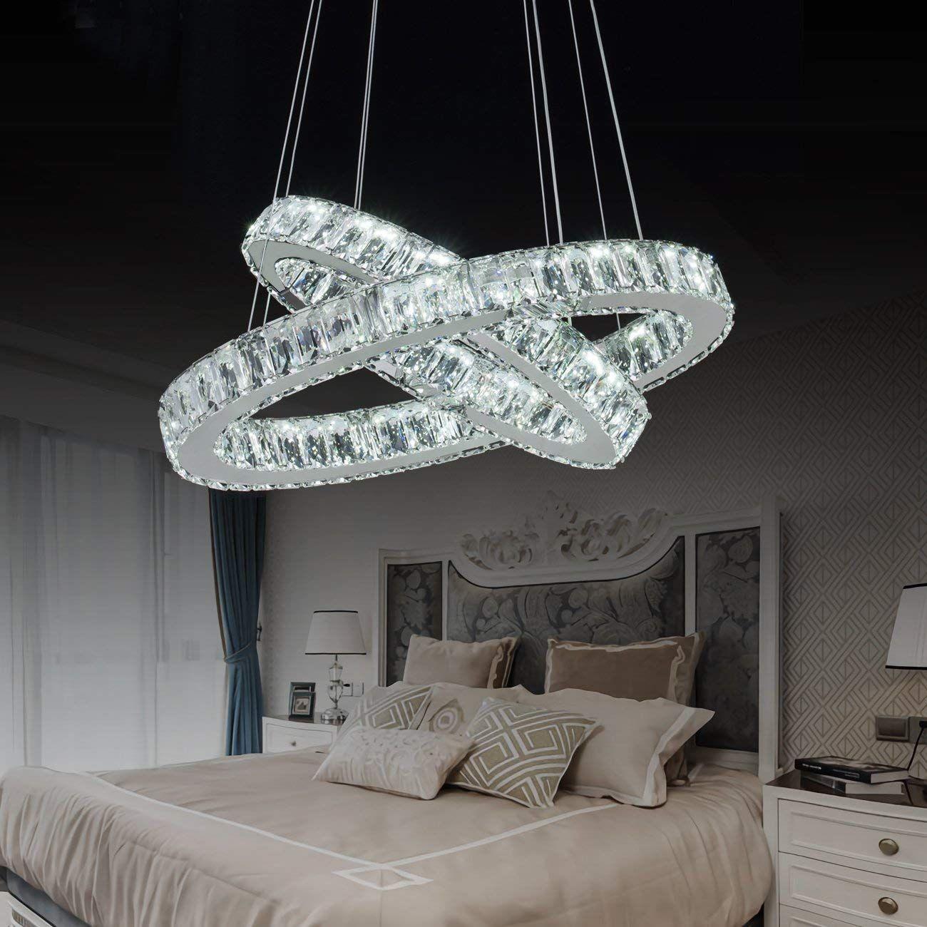 Modern Led Crystal Chandeliers 2 Rings Pendant Lighting Elegant Crystal Glass Ceiling Lighting Co Colorful Bedroom Decor Chandelier Design Glass Ceiling Lights
