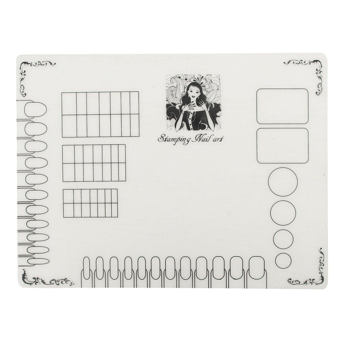 Silicone Nail Art Practice Mat Pad Coloring Polish Stamping Transfer - $7.99