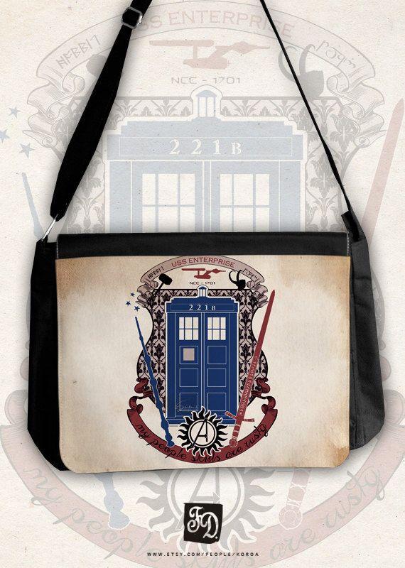I LOOOOOOOOOOOOVE this!! It is a fandom crest of supernatural, doctor who, sherlock, avengers, harry potter, star trek, merlin, and lotr (the hobbit)