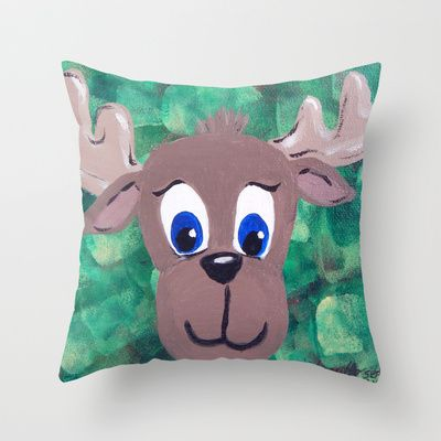 Moose Throw Pillow by HeartsandKeys - $20.00