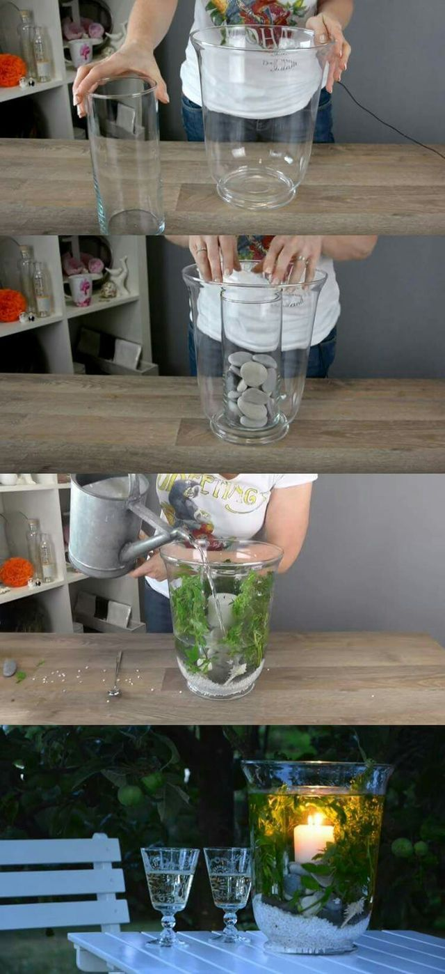 Vase avec eau et chandelle craft ideas pinterest tisch deko und gärten