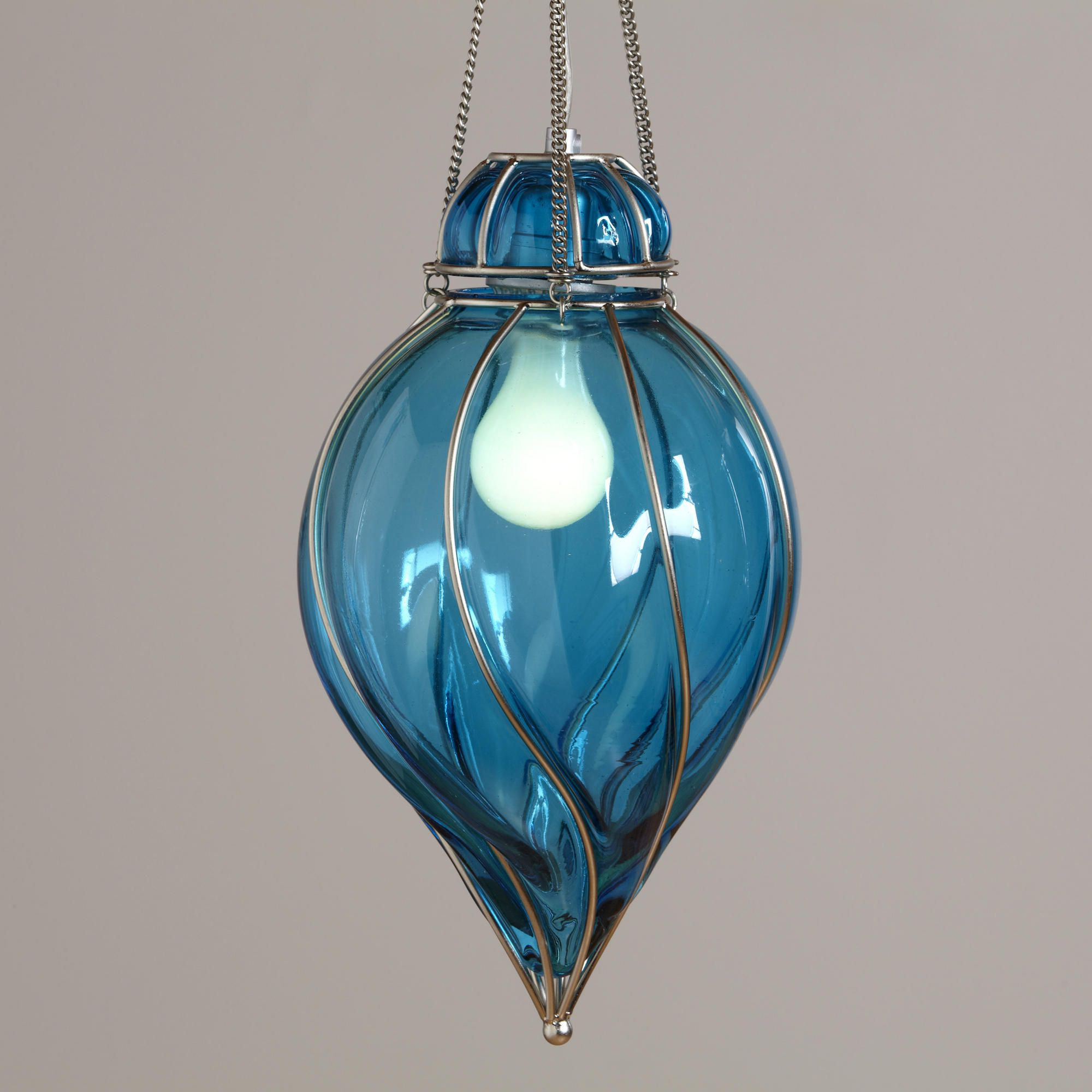 Blue Glass Venetian Pendant  Contemporary  Pendant Lighting