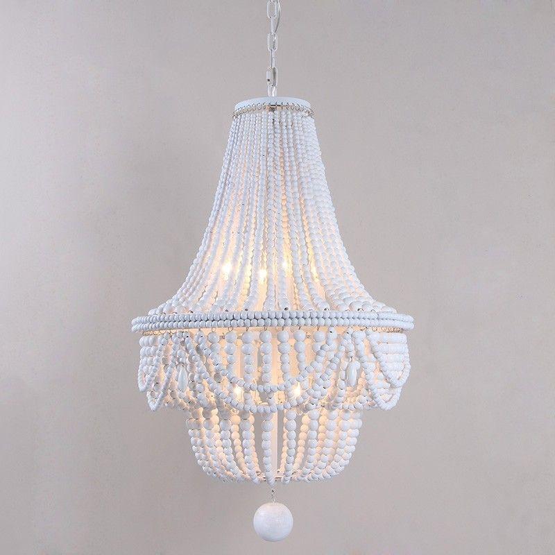 Katia Retro Classic Wood Beaded Basket 8 Light Chandelier Pendant Light In White Gray Blue In 2020 Wood Bead Chandelier Beaded Chandelier Bedroom Ceiling Light