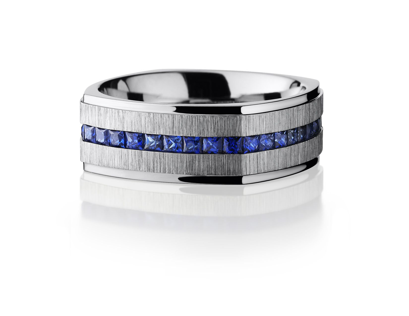 Men s Cobalt Chrome euro square sapphire eternity ring