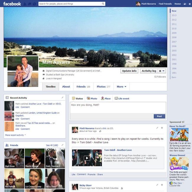 Facebook's test layout: single column format for the timeline ...