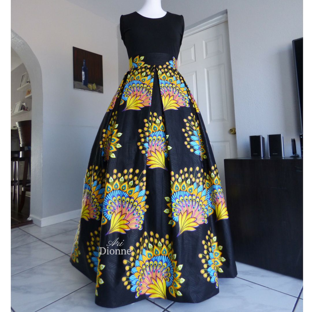 Authentic brocade african wax print pleated maxi so fabulous i