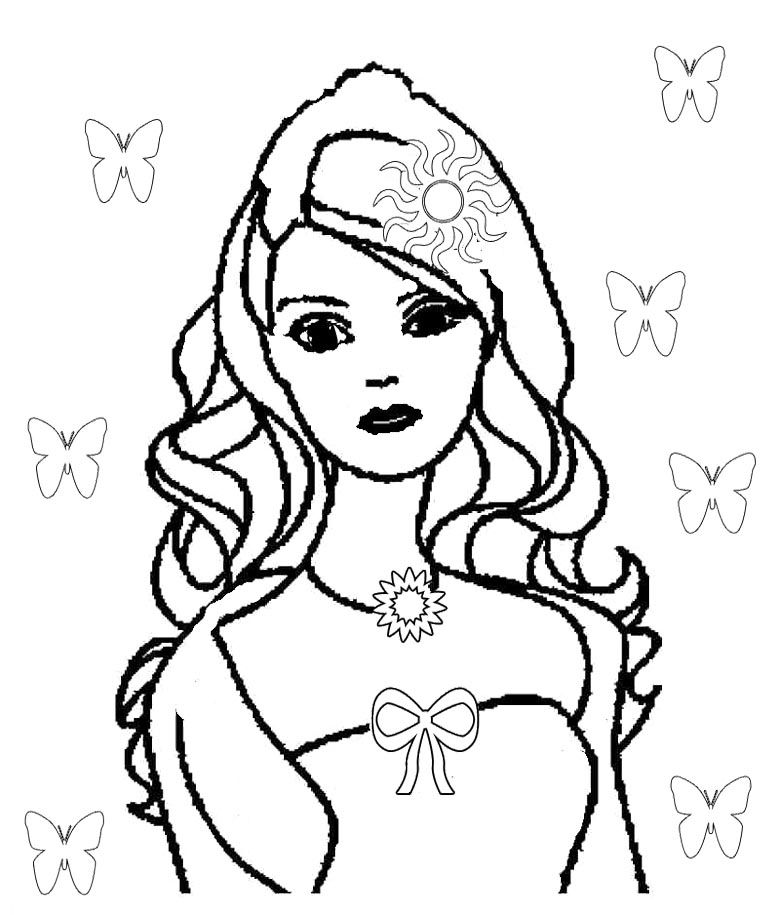 Cute Barbie Doll Coloring Pages