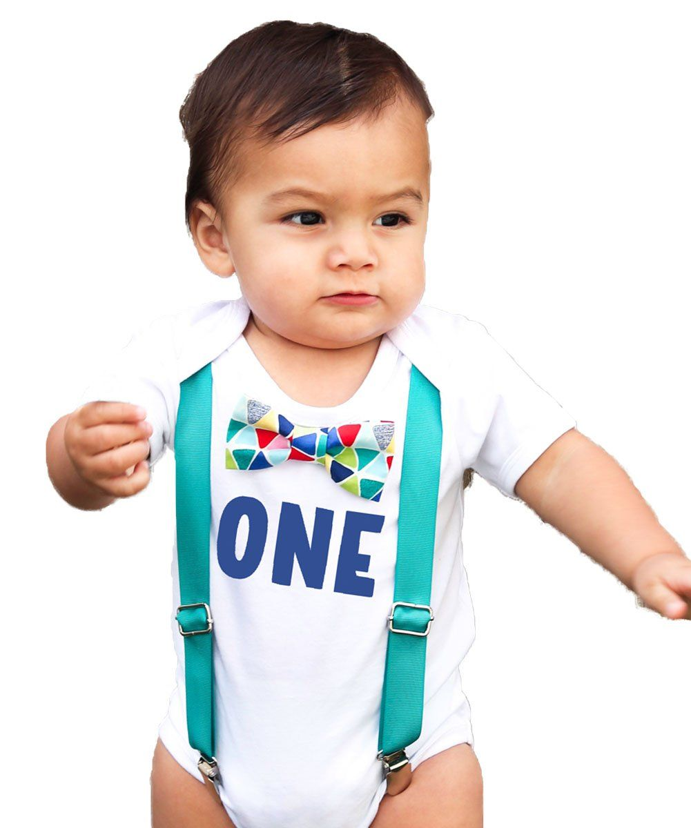 First Birthday Outfit Boy Teal and Rainbow Colorful Bow