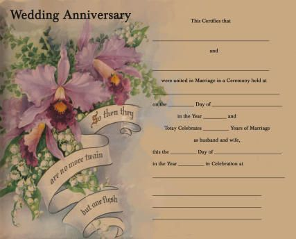 Wedding Anniversary Keepsake Certificate Personalized Record 50