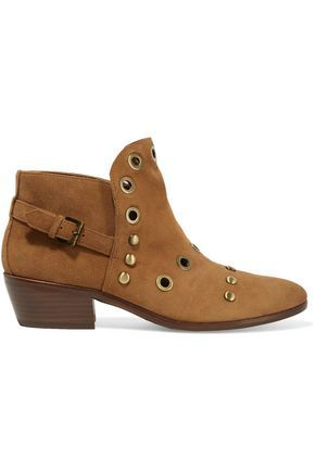 SAM EDELMAN WOMAN PEDRA EMBELLISHED SUEDE ANKLE BOOTS BROWN. #samedelman # shoes #