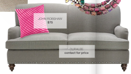 grey couch, pink accents