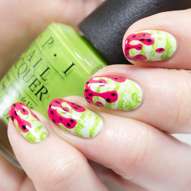 Drooling over this dripping & juicy watermelon nail art with ...