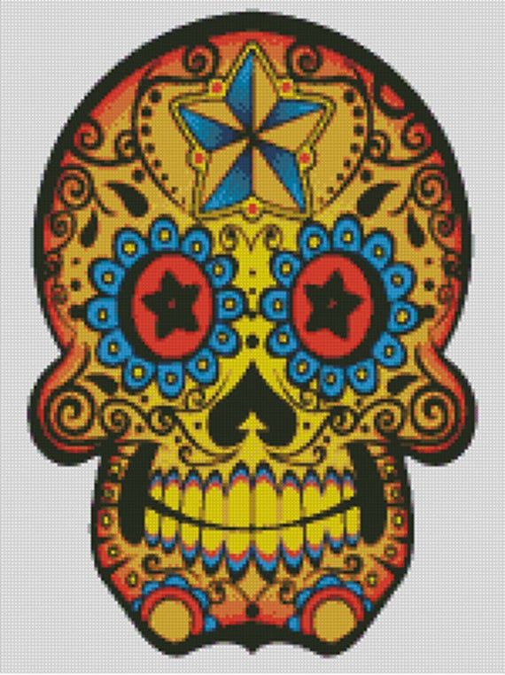 Cross stitch chart, pattern. Day of the dead, Skull, Calavera, Mexico