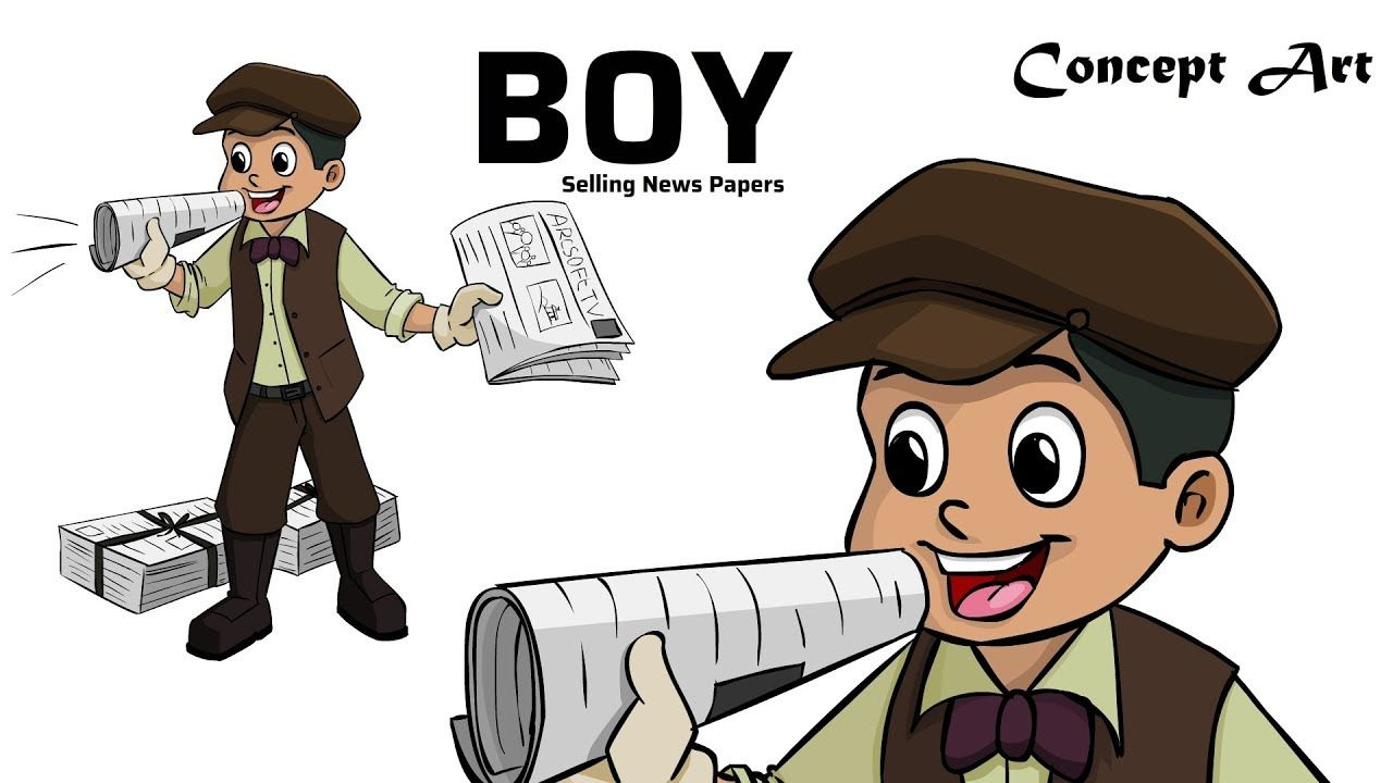 A Boy Selling Newspapers Drawing Concept Art Old Style