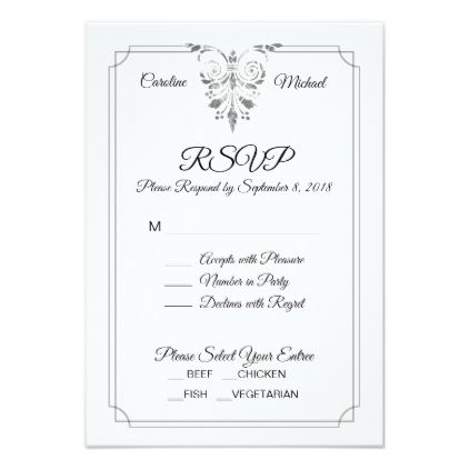 Elegant Traditional Formal Wedding Rsvp Card Weddinginvitations