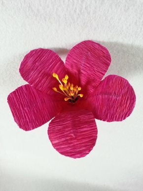 How to make crepe hibiscus flowers crepe paper streamers paper learn how to make this easy hibiscus flower using crepe paper streamers you can get these streamers at the dollar stores or craft stores mightylinksfo