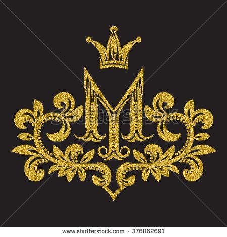 Golden Glittering Letter M Monogram In Vintage Style Heraldic