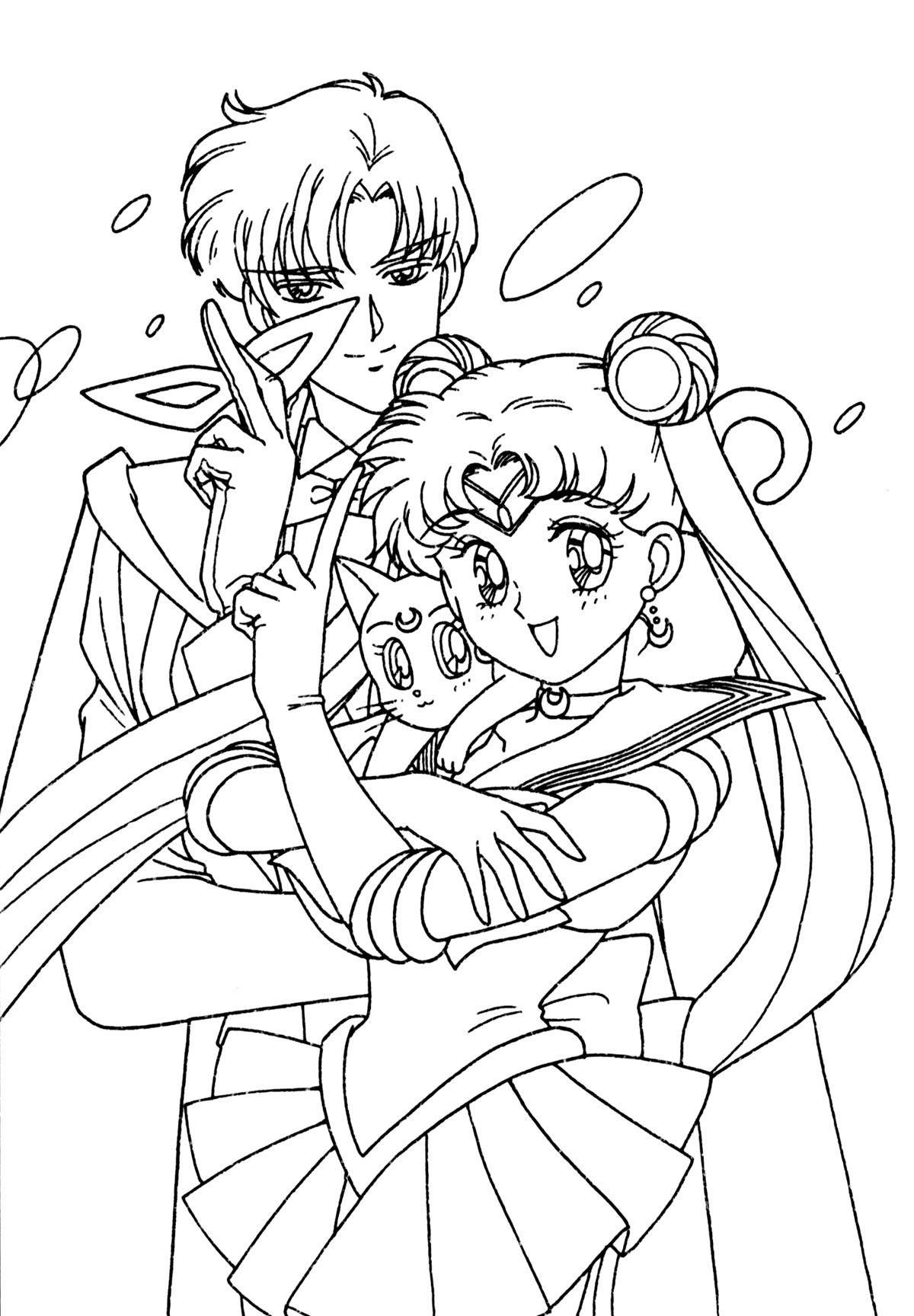 sailor moon, l\'homme masqué et luna | Coloriages Sailor Moon | Pinterest