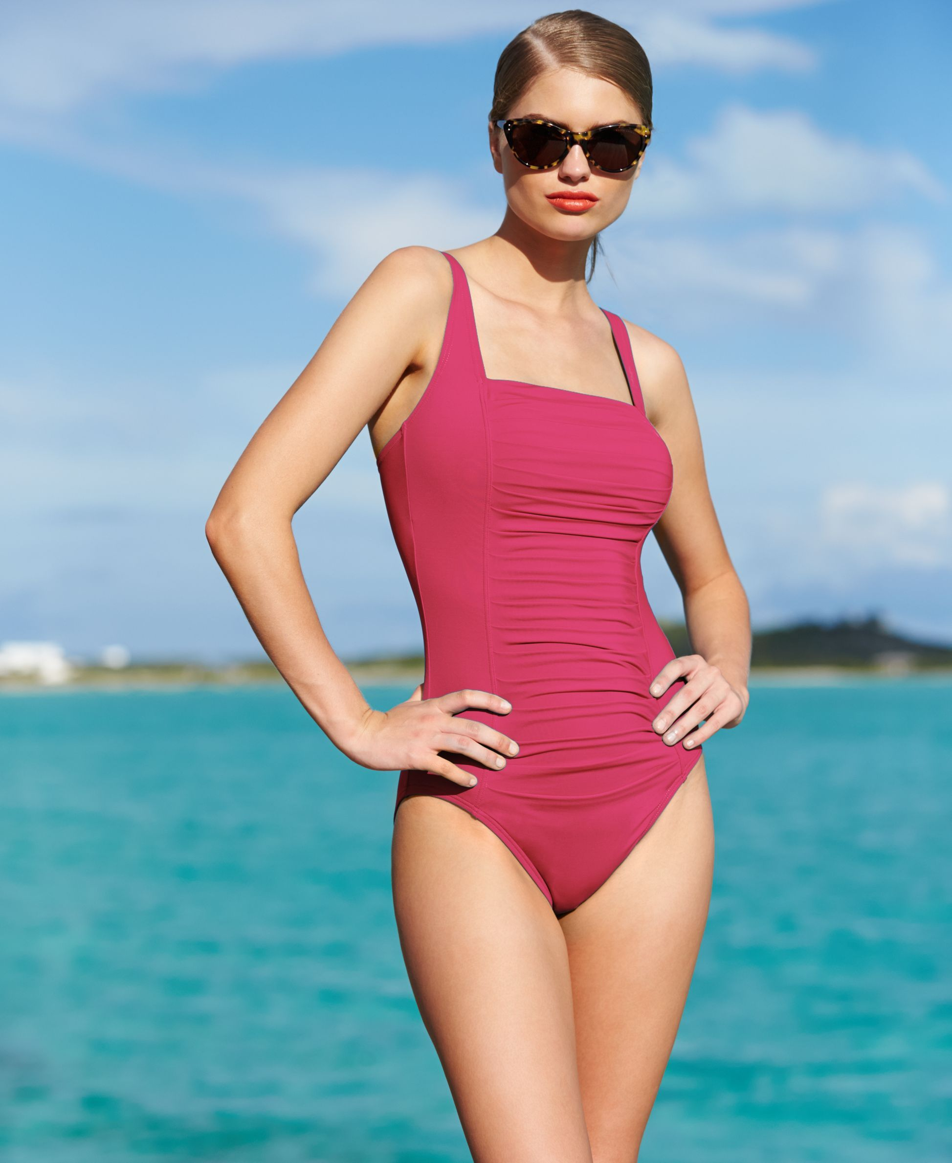 39db22cf3c Solid Pleated One-Piece Swimsuit,Created for Macy's Style | Stuff to ...