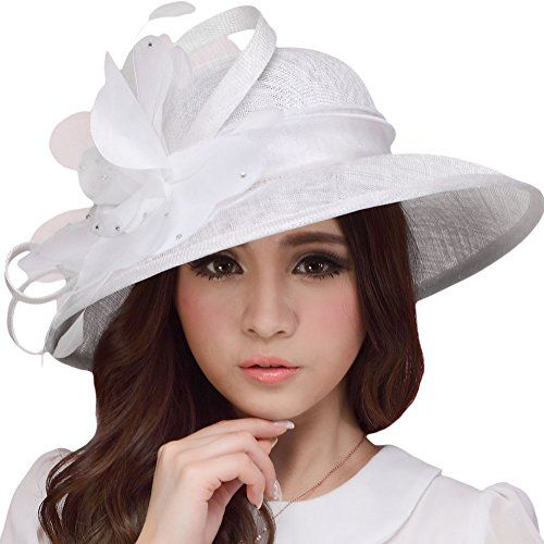 930f9829309 June s Young Women Hat Sinamay Summer White Hat Organza Flower Wide Brim - Sun  Hats - Apparel - We Try Our Best To Provide Your Requirements At Prices  That ...