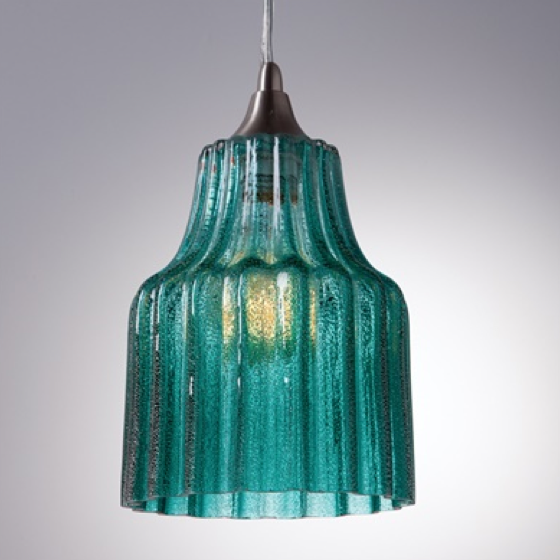 Retro inspired champagne bubbled ribbed glass pendant lights shimmer in an array of colors.Brushed nickel canopy and pendant holder. Available in four colors