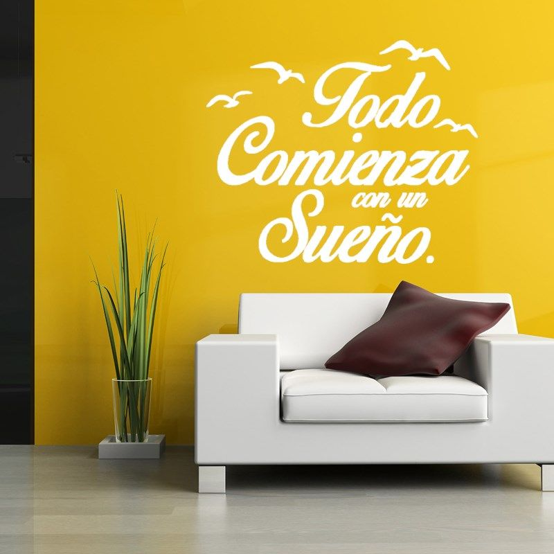 wall stickers vinyl spanish quote poster birds letterings decals art ...