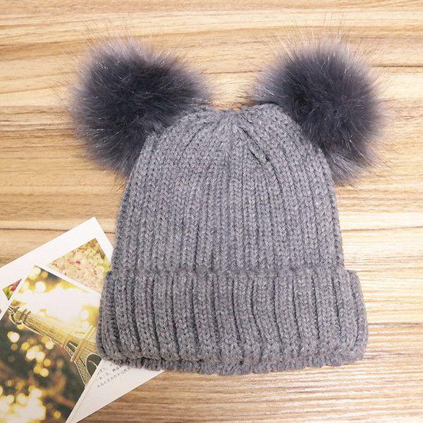 2e6b665fb8e  s outdoor knit double fur pom pom beanie cap warm cute beanie sk ( 11.