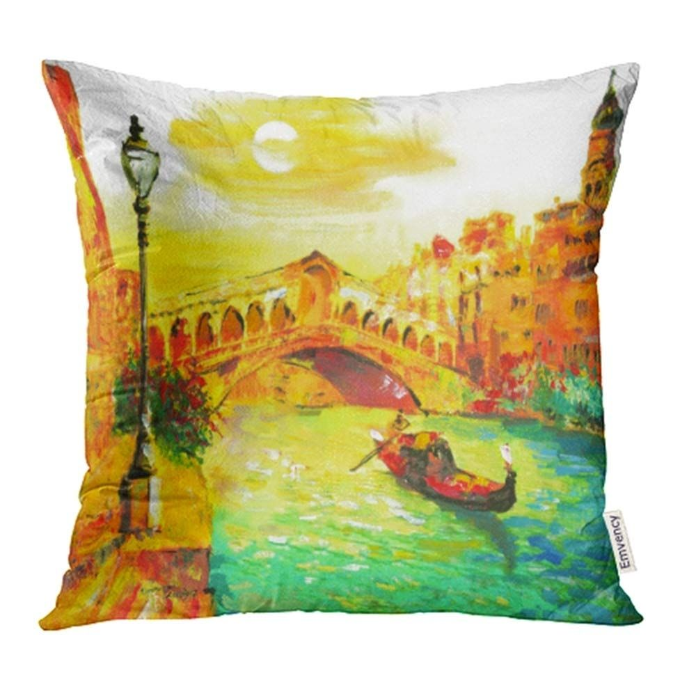 Photo of Watercolor Canal Oil Painting Venice Italy Colorful Landscape Canvas Abstract