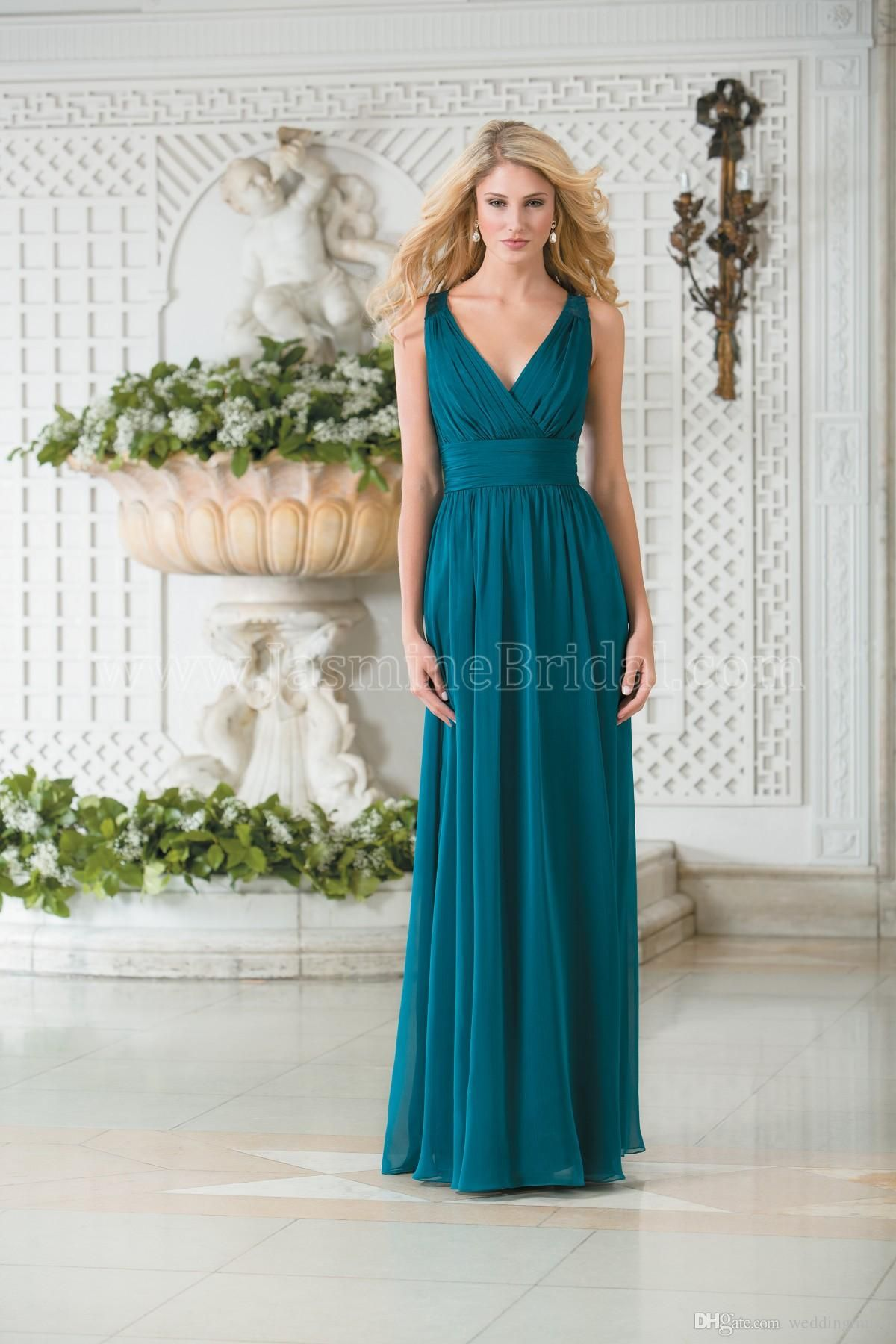 Vintage V Neck Teal Green Chiffon Plus Size Long Bridesmaid Dresses ...