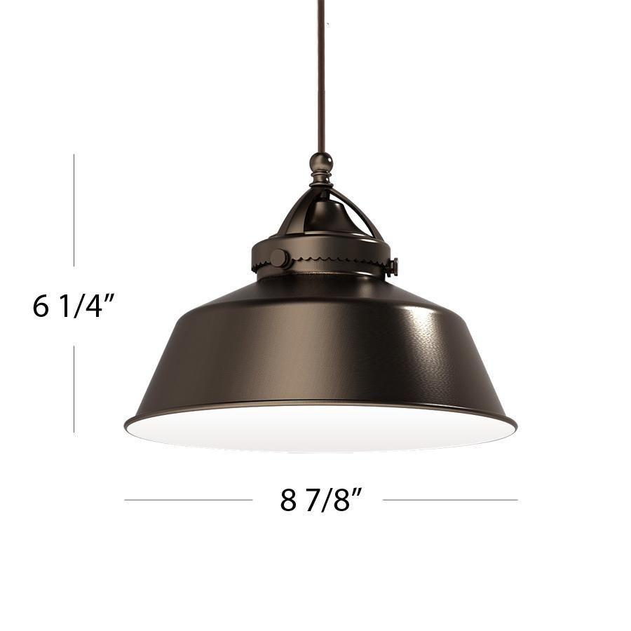Wac lighting qp led483 ab bn qc pendant metal shade with white inte