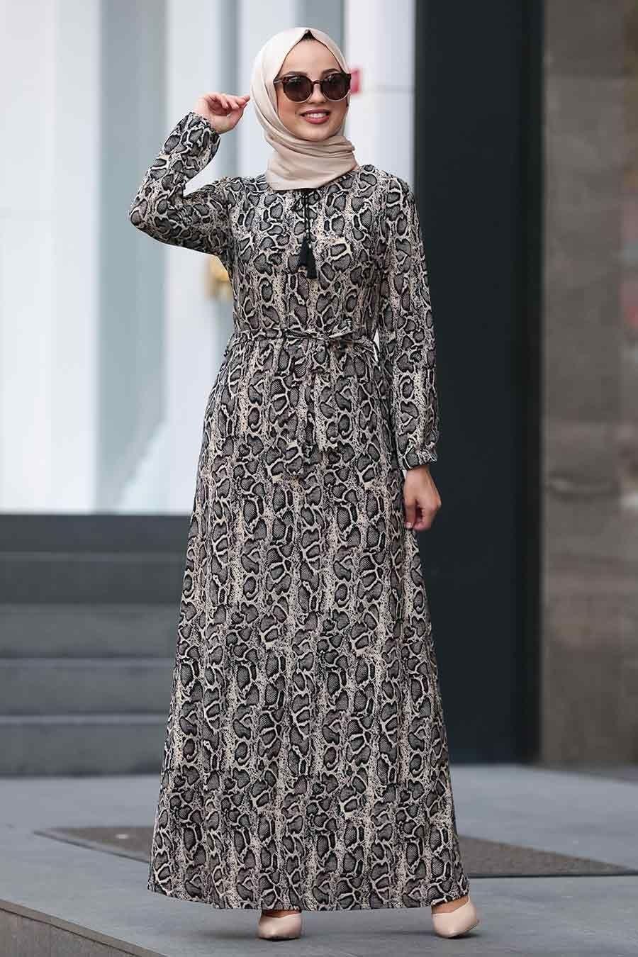 Nayla Collection Leopar Desenli Tesettur Elbise 22921lp Tesetturisland Com Elbise Maksi Elbiseler Giyim