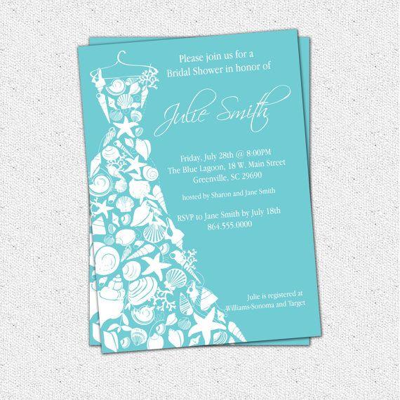 Printable Bridal Shower Invitation Seashell Dress Elegant Sea