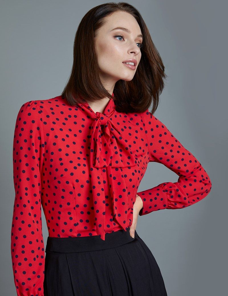 582241c0a0c4e Women s Red   Navy Spot Print Fitted Blouse