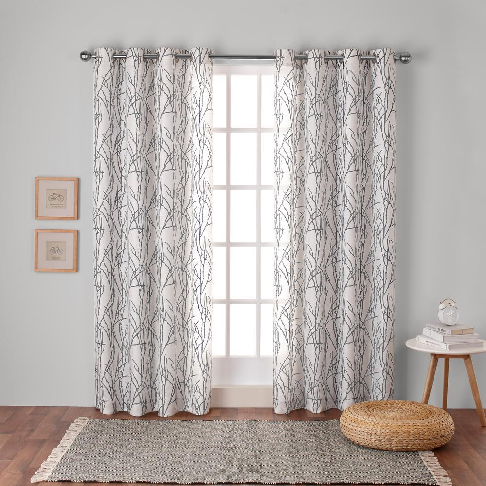 Branches 54 In W X 108 In L Linen Blend Grommet Top Curtain