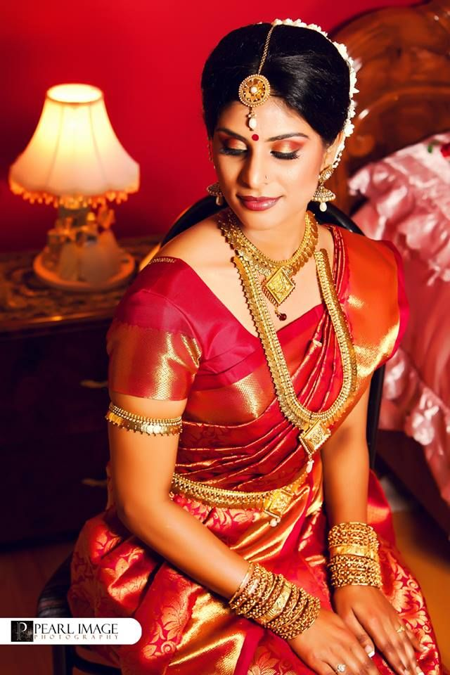 South Indian Bride Temple Jewelry Jhumkis Red Silk