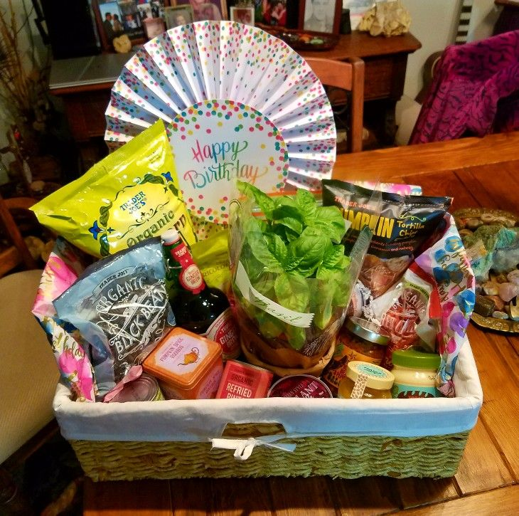 Made this trader joes foodie gift basket for mother in