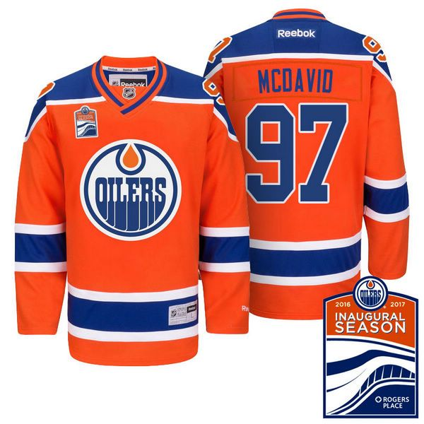 a3db546db Edmonton Oilers Connor McDavid  97 Orange Inaugural Season Patch Premier  Jersey One 20% Off Select UCL Champions League Jerseys