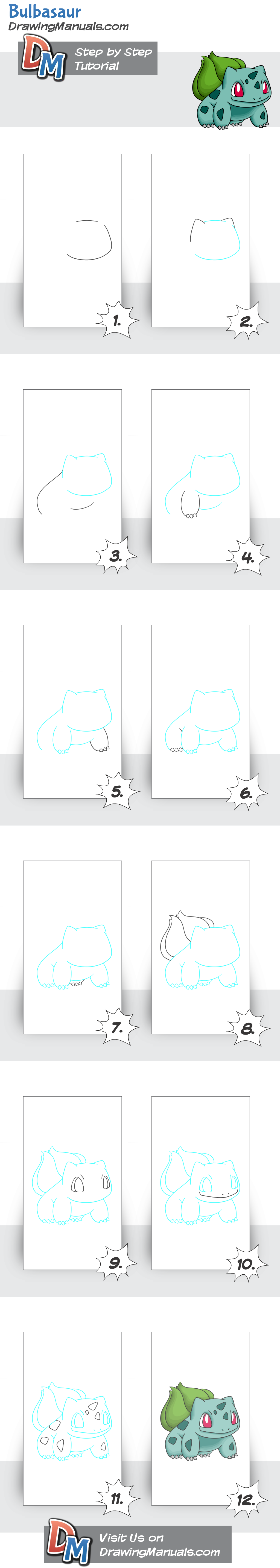 how to draw bulbasaur step by step