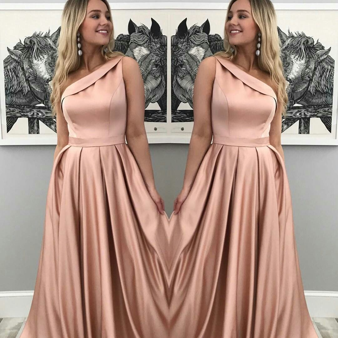 Pink satin one shoulder prom dresses long good to know stuff