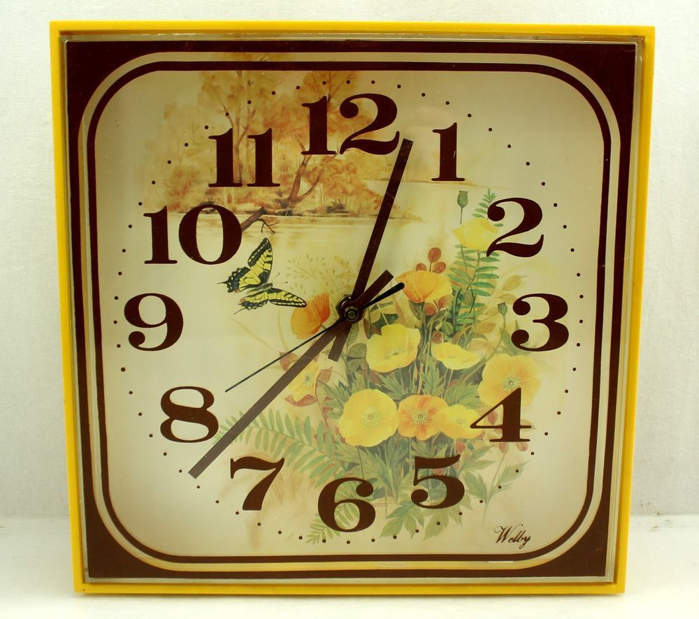 Superbe Welby Vintage Buttercup Flower Butterfly Yellow Brown Square Kitchen Wall  Clock